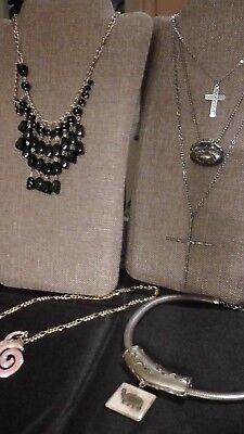 Vintage Estate Jewelry Lot 6 necklaces & pair of earrings