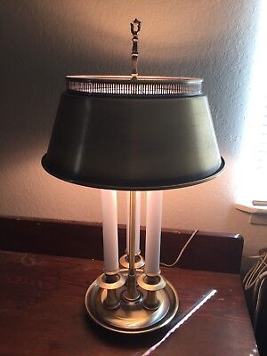 Vintage Mid Century Antique Brass French Bouliette Style Table Lamp Tole Shade