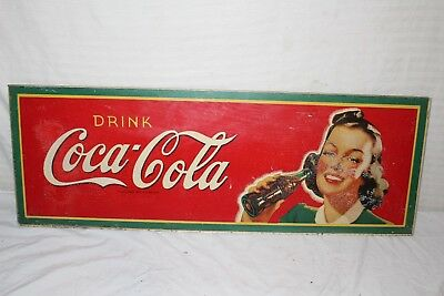 "Rare Vintage 1945 Coca Cola Soda Pop Gas Station 34"" Sign"