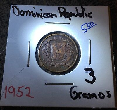 1952 Dominican Republic 1 Centavo/3 Gramos Coin