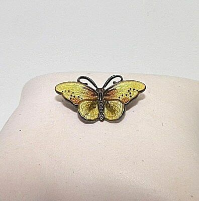 Hroar Prydz Norway Sterling Silver Yellow & Brown Enamel Butterfly Pendant