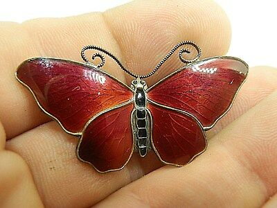 Finn Jensen Norway Sterling Silver Red Enamel Butterfly Brooch Pin