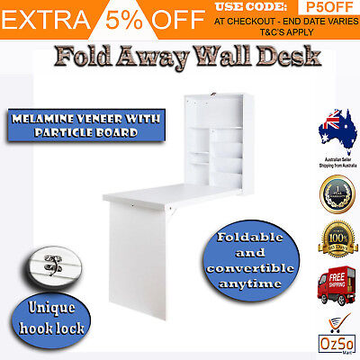 Fold away Wall Desk Home Office Artiss Foldable Table with Bookshelf - White AU