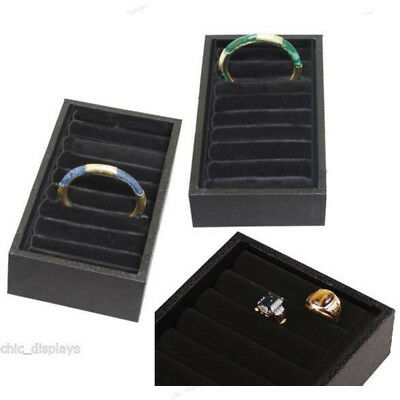 Lot Of (2) 9 Tufted Ring Tray Showcase Display Bangle Display Ring Cuff Bracelet