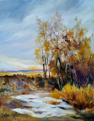 AUTUMN CHILL  OIL ON CANVAS 20X16  inches, original painting  beautiful colors!