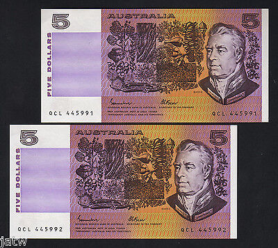 R-209a. (1985) Johnston/Fraser - 5 Dollars. OCRB.  UNC - CONSECUTIVE Pair
