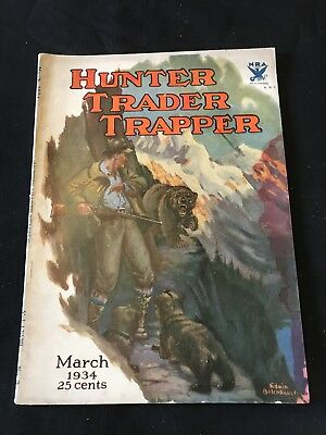 Antique Hunter Trader Trapper Magazine March 1934 Outdoor Hunting Cover Art