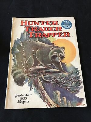 Antique Hunter Trader Trapper Magazine September 1933 Outdoor Hunting Cover Art