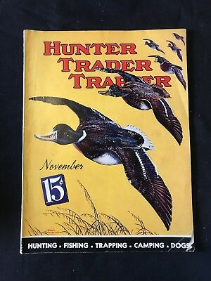 Antique Hunter Trader Trapper Magazine Nov 1937 Outdoor Duck Hunting Cover Art