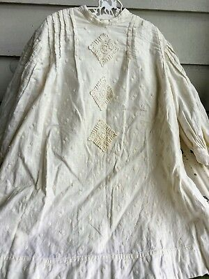 Antique Edwardian White embroidery Polka dot Dress with lace front Child Girl