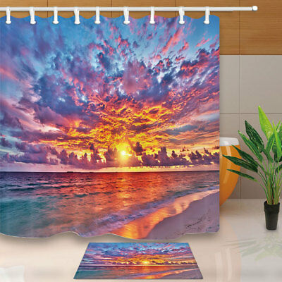 Ocean Beach And Sunset Shower Curtain Bathroom Waterproof Polyester Fabric 71