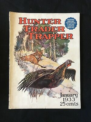 Antique Hunter Trader Trapper Magazine January 1933 Outdoor Hunting Cover Art