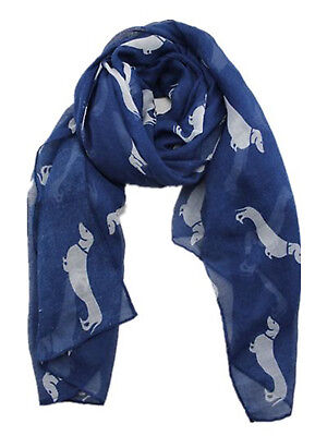 Dog Scarf - Dachshund White dogs on Blue  Approx 180cm Long x 90cm Wide
