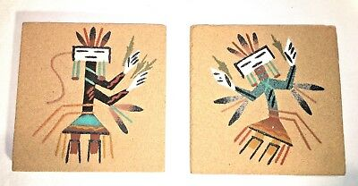 "2 Navajo Sand Paintings -Native American Indian- Signed Wayne Tom 1991 4"" square"