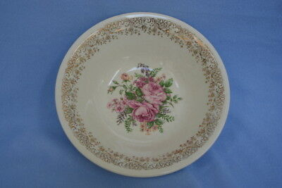 Vintage Edwin Knowles China Serving Bowl  w/Pink Roses Intricate Gold Border