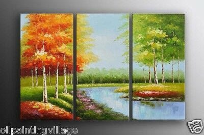 "Oil painting on canvas hand painted landscape 60""x40""H birch tress creek Last 1"