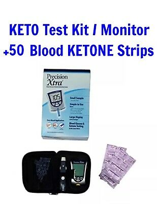 Precision Xtra KETO TESTING KIT Meter Blood Glucose Monitoring +50 KETONE STRIPS