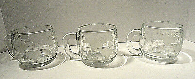 Vintage Nestle Nescafe Clear Glass Globe Cup Set of Three