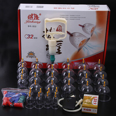 32-Cup Medical Chinese Vacuum Body Cupping Suction Massager Healthy Relaxing Set