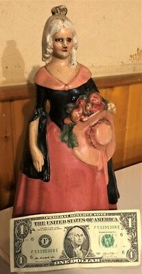 Lg Antique Cast Iron Figural Colonial Woman Doorstop Orig Paint National Foundry