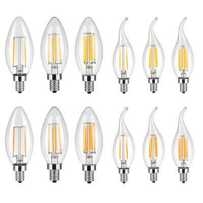5X 2W 4W 6W LED COB Filament Edision Candelabra Light Bulb Flame/Bullet tips E12