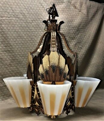 Mint Art Deco Beardslee Chicago 5 Light Slip Shade Polychrome Painted Chandelier