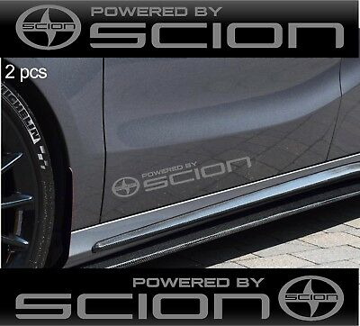 2 pcs POWERED BY SCION Stickers Decals SILVER
