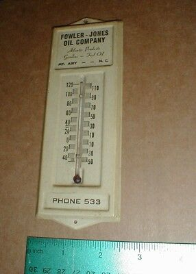 """vtg old 1940s Atlantic Gas & Oil Co Metal thermometer 7"""" Fowler Jones Mt Airy NC"""