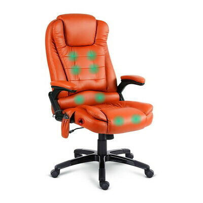 8 Point Massage Executive Office Computer Chair Heated Recliner PU Leather Amber