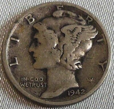 WW2 United States 1942s Mercury Dime US 10 Cents Silver Coin WWII