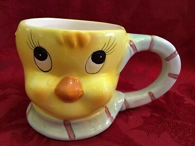Looney Tunes Tweety Bird Yellow 3D Chick Cup Mug Vintage