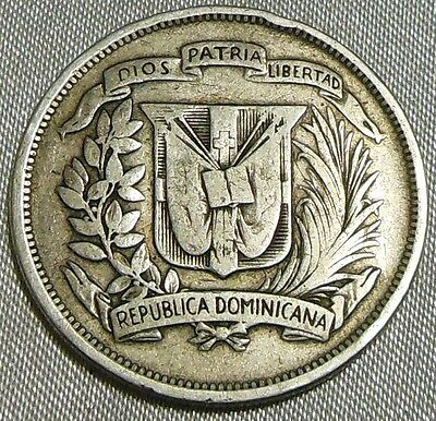 Rare 1937 Dominican Republic 1/2 or Medio Peso Silver Coin Republica Dominicana