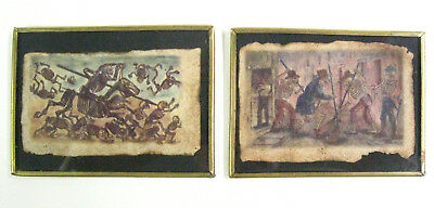 """RARE & UNUSUAL Vintage Mexican """"Day of the Dead"""" Framed Art Parchment Miniatures"""