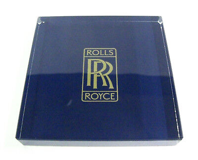 Vintage Rolls Royce Square Glass Paperweight, Blue Background, Advertising, Exc!