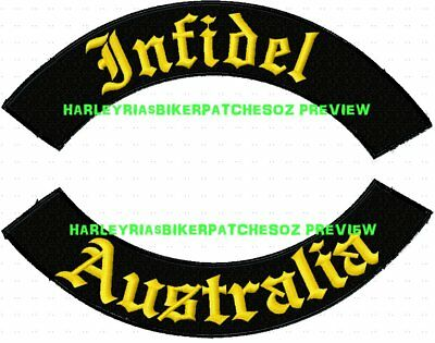 Infidel Australia Set Of Rockers - Embroidered Biker Patches