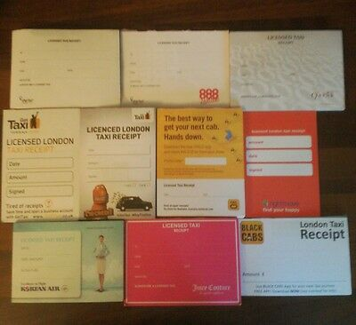 taxi receipts 60 X  LICENSED LONDON TAXI  blank /genuine /mixed batch FREE POST