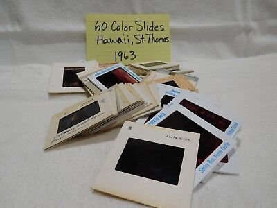 Lot of 60 Color Slides of Hawaii & St. Thomas 1963 FREE SHIPPING