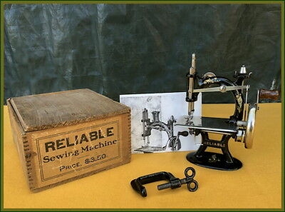 Rare~ Antique Foley & Williams -Reliable-Cast Iron Toy Hand Crank Sewing Machine