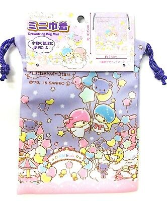Little Twin Stars Drawstring Bag Pouch Accessory Case Sanrio Purple from Japan