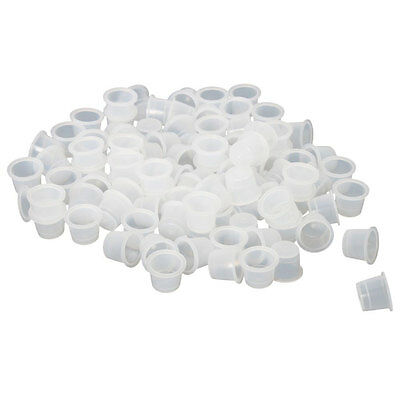 100 x Profession 19mm Plastic Tattoo Pigment Ink Cups Caps Larger Size White
