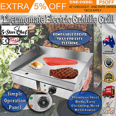 Commercial Electric Griddle Bbq Grill Plate Hot Stainless Steel Countertop 3000w