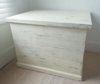 Old ANTIQUE PINE CHEST, Wooden Blanket TRUNK, Coffee TABLE, Storage BOX, Vintage