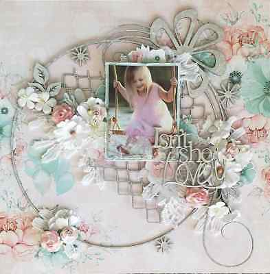 "Handmade Pre-made Mixed Media 12"" x 12"" Scrapbook Page Layout - Isn't she lovely"
