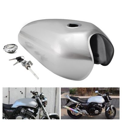 Motorcycle 9L 2.4 Gallon Fuel Gas Tank Kit Silver For Honda CG125 Cafe Racer