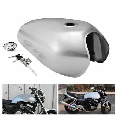 Silver Motorcycle 9L 2.4 Gallon Fuel Gas Tank Kit Fit For Honda CG125 Cafe Racer
