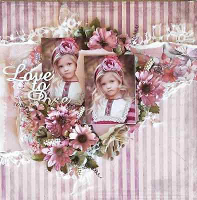 "Handmade Pre-made Mixed Media 12"" x 12"" Scrapbook Page Layout - Love to Pose"
