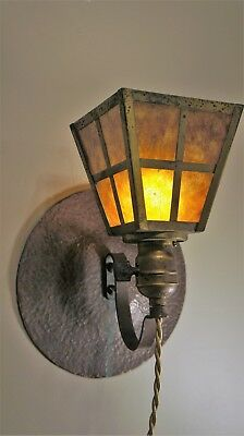 Antique, Arts and Craft, Mission, wall sconce, mica shade