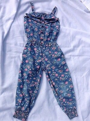 NEXT Girls Gorgeous Ditsy Floral Cotton Jumpsuit fit girl age 5 Years ~So Cute