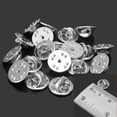 20 X Silver Metal Hat Pin badge Backs Tac Lapel Pins Butterfly Clasp Clips