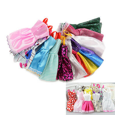 10 Handmade Party Clothes Fashion Dresses + 10 Shoes for Barbie Doll Mixed Charm